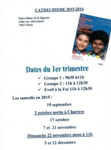 Dates Catéchisme & Eveil à la Foi 1er trimestre 2015-2016